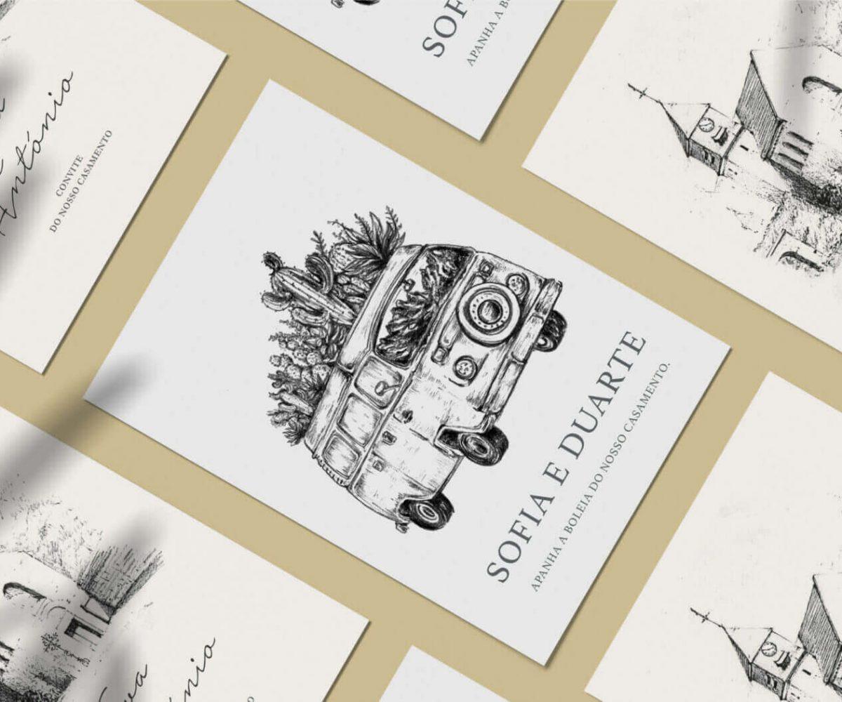 Convite de casamento de estilo ilustração com desenho de uma igreja e de um autmovel em grafite